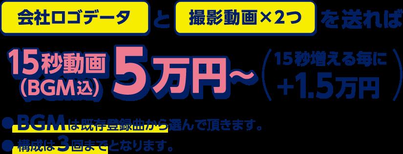 会社ロゴデータと撮影動画×2つを送れば15秒動画5万円~